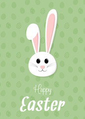 Concept of a card with cartoon bunny for Easter holiday. Vector.