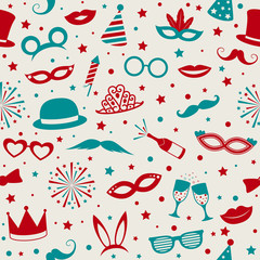 Colourful party and carnival background with funny costumes. Vector.