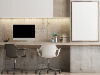 Mock poster, hipster office, minimalism concept, your work here, 3d render , 3d illustration