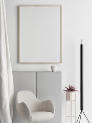 Mock up poster, Scandinavian interior design, your work here, 3d render, 3d illustration