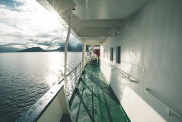 Expedition Vessel leaving Tierra del Fuego