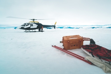 Helicopter on the Sea Ice - Antarctica