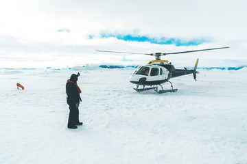 Helicopter taking off - Antarctica