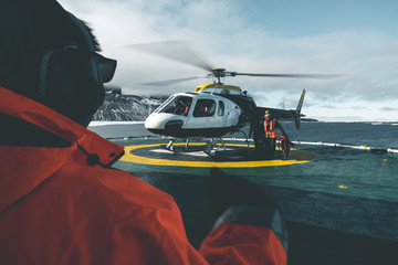 Helicopter on Expedition Vessel - Antarctica