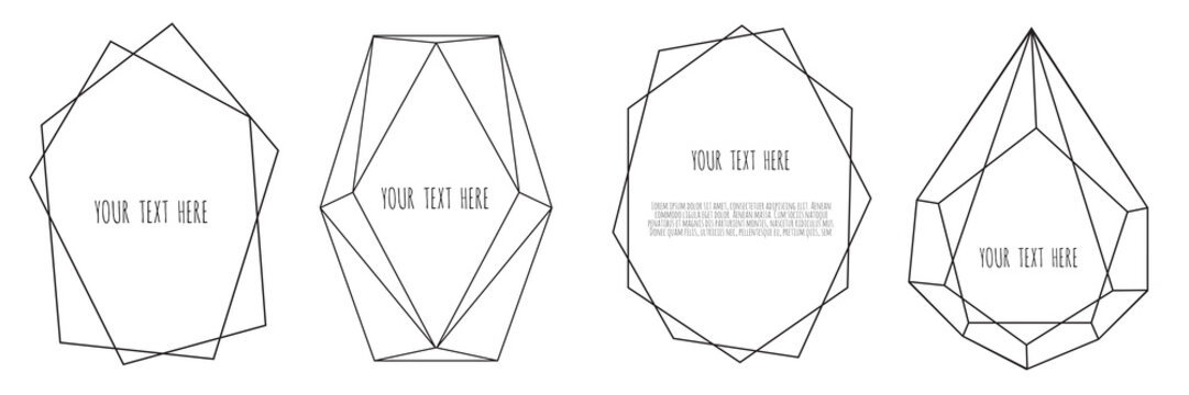 Set of Geometrical polyhedron, Frame border with copy space