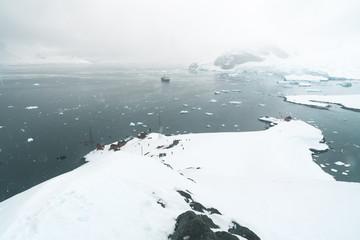 Top Panorama of Brown Station - Antarctica.