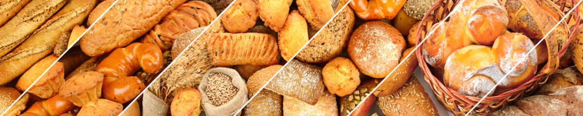 Zelfklevend Fotobehang Bakkerij Panoramic set of fresh bread products.