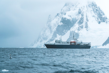 Expedition Vessel in the Polar Landscape - Antarctica