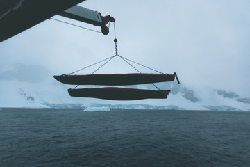 Lowering Kayaks - Antarctica
