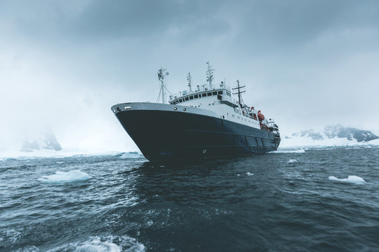 Expedition Vessel in the Ice - Antarctica