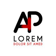 AP Letter black logo with gradient arrow