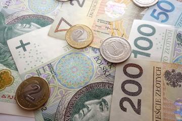 Polish zloty currency money closeup