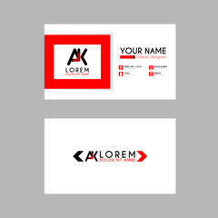 Modern Creative Business Card Template with AK ribbon Letter Logo