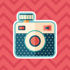 Hipster camera sticker flat icon with color background.