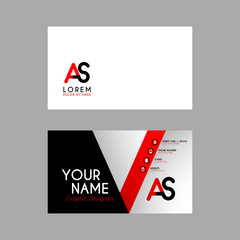 Simple Business Card with initial letter AS rounded edges