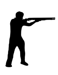 silhouette man  holding shotgun in a shooting position