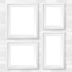 Frames wall gallery mockup white brick wall 2