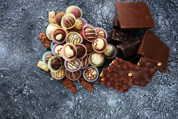 a lot of variety chocolate pralines, belgian confectionery gourmet chocolate.