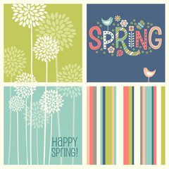 Set of Spring designs and seamless patterns