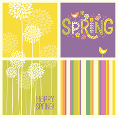 Set of Spring designs and seamless patterns including floral, stripes, and doodle text. Cheerful coordinating elements for  banners, cards, backgrounds and decor.
