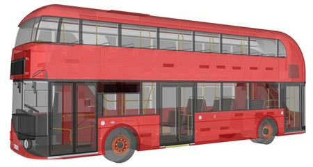 Fotobehang Londen rode bus A double-decker bus, a translucent casing under which many interior elements and internal bus parts are visible. 3d rendering.