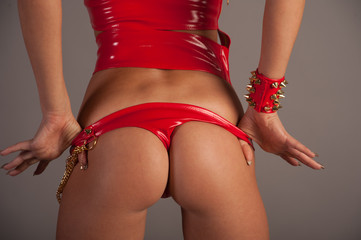 woman in red panties