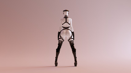 Sexy White Abstract Woman in Thigh High Boots Cap Gloves Glasses and BDSM Gear 3d illustration