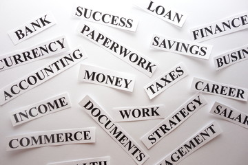 Words related with business career, financial success concept