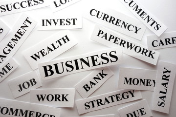 Business related words, abstract financial concept
