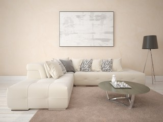 Mock up a bright living room with a trendy beige sofa against the backdrop of decorative plaster.