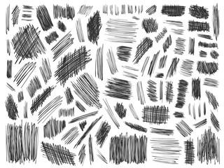 Scribbles doodle pencil signs set curve black white