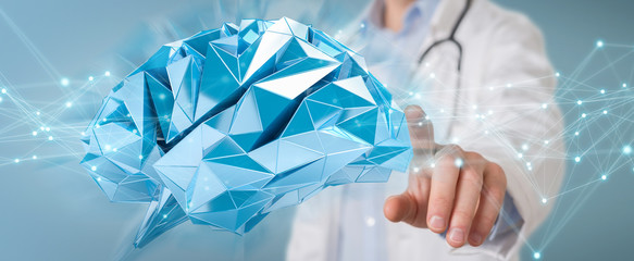 Doctor holding digital brain interface 3D rendering