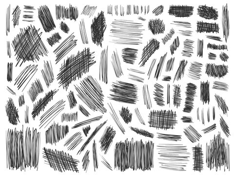 Doodle spots and frames vector. Set of simple bold doodle lines, curves, frames and spots. Pencil effect collection. Doodle bold borders. Set of simple doodles. Pencil effect sketch isolated on white.