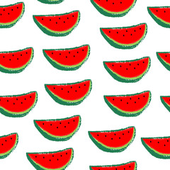 Seamless watermelons pattern. Red watermelon slices on white background