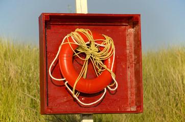 Red life preserver on a grassy beach