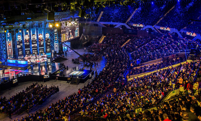 People watch the Intel Extreme Masters 2018 World Championships esports match in Katowice