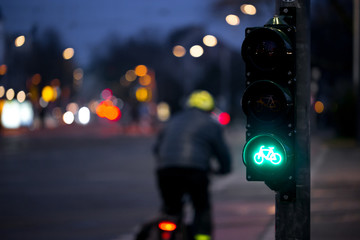 Cyclist passes bicycle traffic light