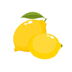 Bright vector set of colorful juicy lemons isolated on white.
