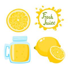 Vector set of fresh lemonade in bank and lemons isolated.