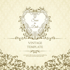 Decor template with pattern and ornate frame. Ornamental lace pattern and design elements for invitation, greeting card, certificate.