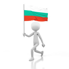 Small Person Walking with Bulgaria Flag in a Hand.