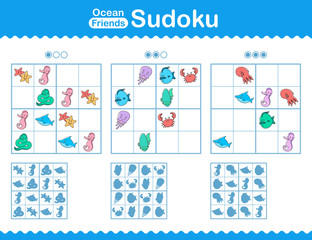 Childrens sudoku puzzle with cartoon ocean animals