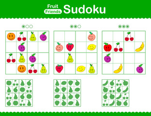 Childrens sudoku puzzle with smiley cartoon fruit