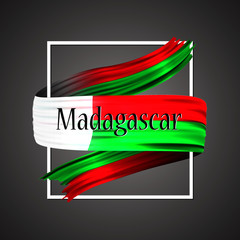 Madagascar flag. Official national colors. Madagascarian 3d realistic ribbon. Isolated waving vector glory flag stripe sign. Vector illustration backgroun. Icon emoji design with frame.