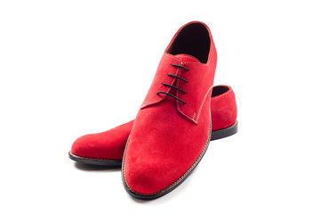 Red men suede shoes isolated on white background