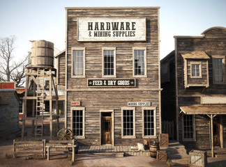 Western town rustic Hardware and mining supply store. 3d rendering . Part of a Western town series Wall mural