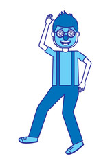 happy man with clown mask glasses and gloves vector illustration blue image design