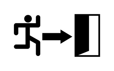 Evacuation exit in case of danger icon