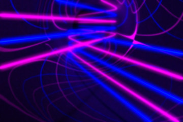 Blurred 3d rendering, glowing lines. Abstract psychedelic background, ultraviolet lights, purple blue vibrant colors