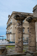 Vertical View of the two Most Ancient Doric Columns of the Magna Greece. Taranto, South of Italy